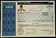 Atari Corporation Common Stock Certificate 2498 Shares Dated 11/15/89 - No Folds