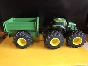 Tomy Toy John Deere Monster Tractor And Trailer Used Lights And Sound Works