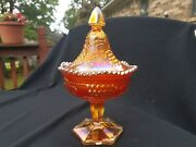 Northwood Carnival Glass Rare Marigold Grape And Cable Sweetmeat Compote