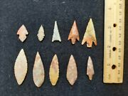Lot Of 10 Neolithic North African Arrowheads Fine Gem Points With Color