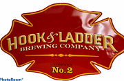 Hooks And Ladder Brewing Company No. 2 Advertising Metal Sign Nice Firemen's Den
