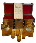 Vintage Amber Glass Decanters And Shot Glasses Set In Wood Studded Treasure Chest