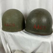 Complete Stenciled Wwii M-1 Helmet W/ Liner Aacs Army Airways Communications