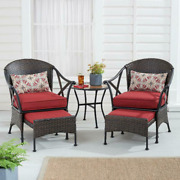 5 Pc Garden Patio Outdoor Chat Set Cushion Chair Table Red Ottoman Furniture New