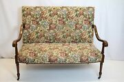 Outstanding French Louis Xv Inlaid Loveseat Sofa W/high Back On Wheels, 19th