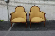 19th C. Pair Of French Louis Xvi Beech Wood Livingroom Chairs, New Upholstery