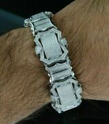 10ct Sim Diamond Menand039s Tennis New Style Antique Bracelet With Free Stud Silver