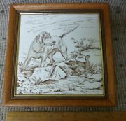 Antique Wedgwood 8 By 8 Porcelain Game Series Transferware Tile Dog And Bird