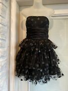 Betsey Johnson Strapless Tulle Tiered Black Heart Ruched Waist Bow Dress 2