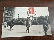 1919 French Real Photo Rppc Military Wwi Victory Parade Postcard To Belgium