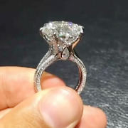 3.99 Tcw Round Moissanite Antique 6-prong Engagement Ring 14k White Gold Plated