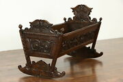 Walnut Antique 1700's German Baby Cradle Bed Carved Dolphins And Flowers 35820