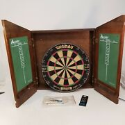 Vintage 1977 King Queen Pub Tavern Dart Cabinet And Official Winmau British Board