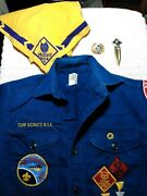 Vintage Cub Scout Shirt, Neckerchief And Slide And Book Marker
