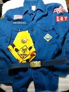 Vintage Cub Scout Shirt, Neckerchief And Slide And Belt