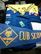 Cub Scout Shirt, Neckerchief And Slide ,book Marker Belt Buckle And Banner