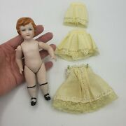 Antique German Bisque Jointed Doll Molded Hair Clothes Dress Mark Vintage Paint