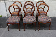 Set Of 6 Victorian Walnut Spring Side Dining Chairs New Upholstery
