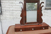Antique Empire Mahogany Shaving Mirror And 3 Drawers For Dresser Or Vanity, C 1840