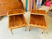 Beautiful Mid Century Modern Lane Inlaid Top And Walnut 2 Tier Step End Tables