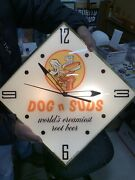 Rare Vintage Working Dog Nand039 Suds Root Beer Glass Pam Clock