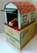 Marx Tin Lithoo Magic Garage With Wind Up Car In The Original Box Excellent