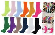 12 Pack Womenand039s Solid Color Roll Top Cotton Crew Socks12 Packone Size