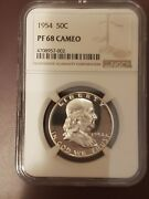 1954 Proof Franklin Half Dollar Graded By Ngc In Pf68 Cameo