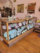 Antique Oak And Glass Clothing Store Showcase 8and039 W X 42 T X 26 D