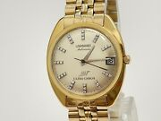 Menand039s Longines Ultra-chron 18k Yellow Gold Diamond With Date Automatic Watch
