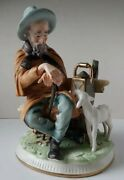 Capodimonte Man With Lamb On Bench With Lantern Large Vintage Porcelain Figurine