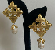 Vintage Rare Statement Karl Lagerfeld Faux Gold/ Pearl Drop Clip Earrings 201
