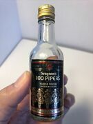 Vintage 1/10 Pint Glass Miniature Bottle Seagrams 100 Pipers Scotch Whiskey .