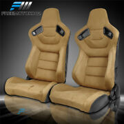 Adjustable Universal Racing Seat X2 Brown Suede And Carbon Leather And 2 Dual Slider