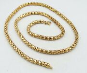 Vintage 18k Yellow Gold Hexagonal Shape Round Necklace 24 4mm 20.7g S2537