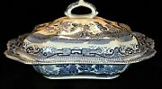 Antique Buffalo Pottery 1908 Blue Willow Covered Vegetable Serving Bowl