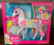Barbie Dreamtopia Brush And039n Sparkle Unicorn Brush And Sparkle Dazzling Lights Sound