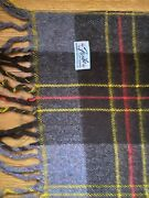 Vintage Faribo Fluff Wool Brown Plaid Blanket 50 By 52 And Acrylic Red Plaid