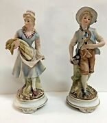 Vintage Hand Painted Candrea 12 Figurines Boy With Sickle Girl Carrying Wheat