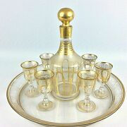 Antique 19th French Empire Liqueur Set Decanter Glass Tray Cordials Gold Gilded