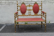 Antique Victorian Gilded Window Bench Loveseat New Upholstery