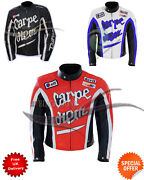 Motorbike Carpe Diem Style Leather Jacket In White Black And Red Color All Size