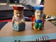 2 Vtg Mini Toby Mugs Made In Occupied Japan Lady Man Mini Cups