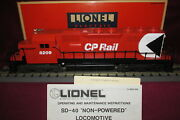 Lionel 6-18209 Canadian Pacific Sd-40 Non-powered Dual Operating Light, Fits Mth