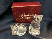 Vintage Crystal Cats Salt And Pepper Shakers By Gorham And Lenox Nib