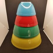 Pyrex Primary Colors Nesting Mixing Vintage Bowls Set Of 4 - 401, 402, 403, 404