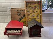 Vintage Toy Lot Poosh-m-up Rodeo Schoenut Piano And Bank