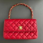 Classic Flap Mini Chain Shoulder Bag Quilted Red Leather