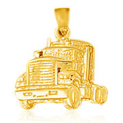 14k Yellow Gold Truck Pendant / Charm Made In Usa