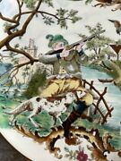 Rudolf Ditmar Viena 15 3/4 Pair Of Plates Charger Hunting Scene C. 1890